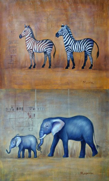 Graceful Elephants and Zebras