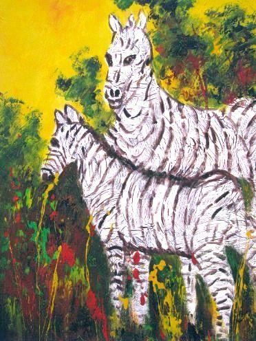 Zebras in yellow Savannah