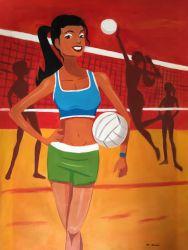 Shining Star Playing Beach Volley